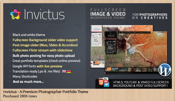 Invictus - Premium Photographer Portfolio Theme