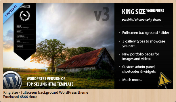 King Size - Fullscreen Backgroun WordPress Template Theme