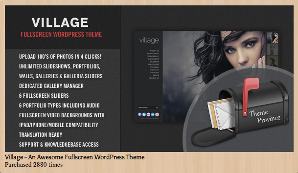 Village Fullscreen WordPress Theme for Creatives