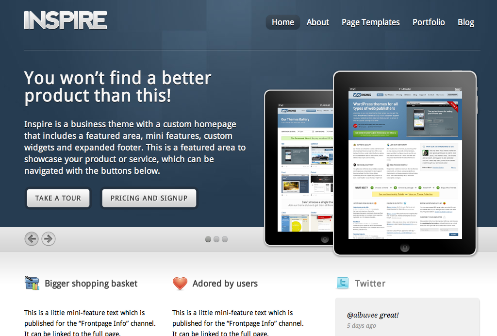 Inspire - Dynamic Business Theme on EE