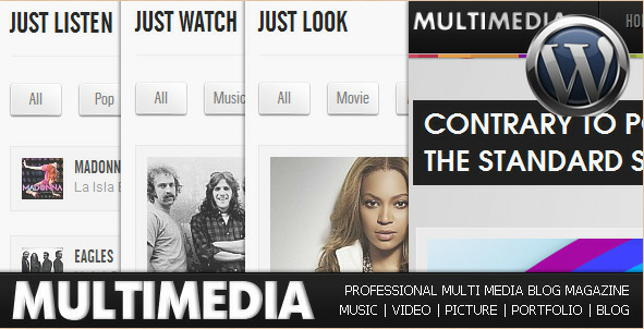 Multimedia - Music, Video, and Picture WP blog theme
