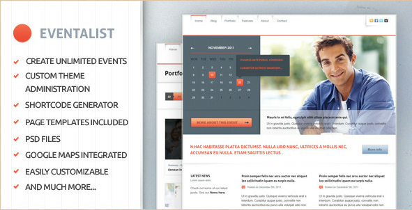 Eventalist - Events WordPress Theme
