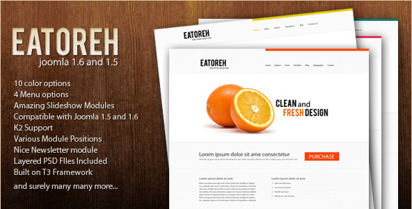 Eatoreah - Clean Joomla 1.5 and 1.6 Template
