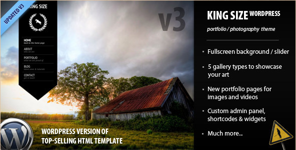 King Size - Fullscreen Background WP Photography Theme