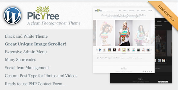 PicTree - Clean Photographer WordPress theme