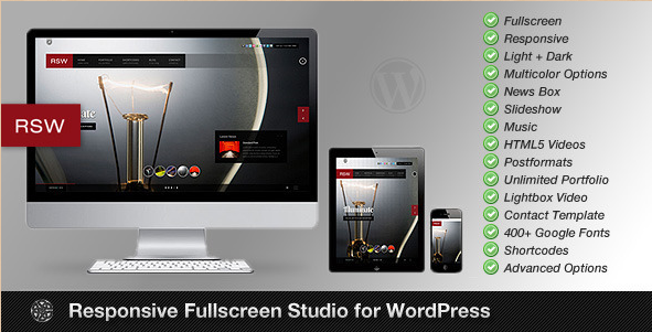 WordPress responsive fullscreen studio photography theme