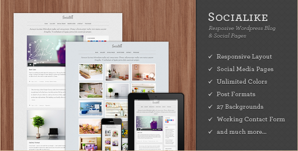 Socialike Responsive WordPress Blog and Social Pages