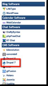 Select Drupal 7 from HostGator QuickInstall menu