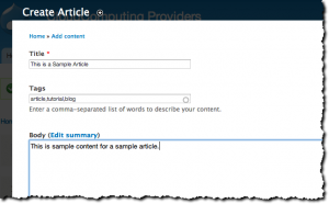 Create a new article in Drupal