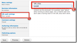 Change URL path settings for Drupal page alias