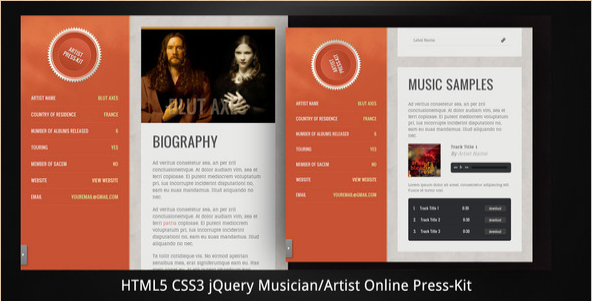 Musician:Artist - HTML5 online press-kit