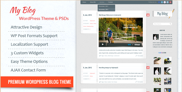 My Blog - WordPress Blogging Theme