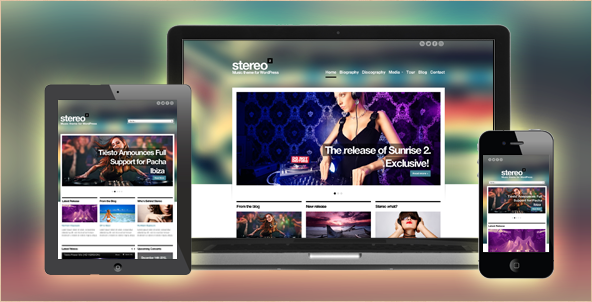 Stereo Squared - Responsive HTML music theme