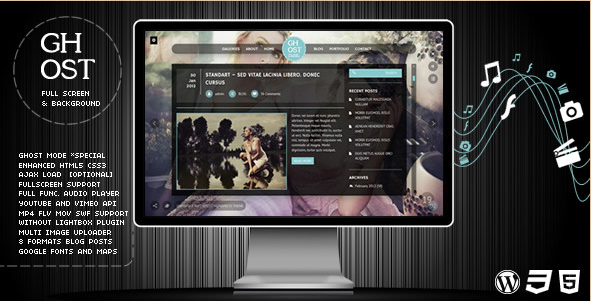 Ghost - WP Fullscreen Video and Audio Theme