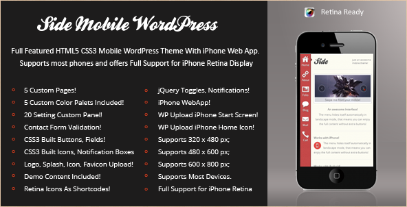 Side Mobile Retina - WordPress Template