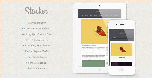 Stacker - Responsive Retina WP Template