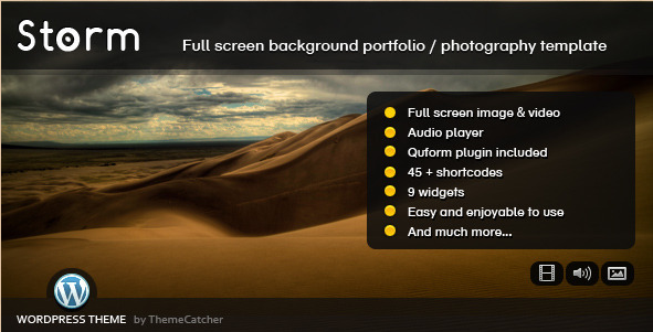 Storm - WordPress fullscreen background image theme