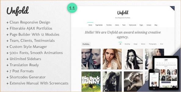 Unfold - Responsive WordPress Portfolio Template