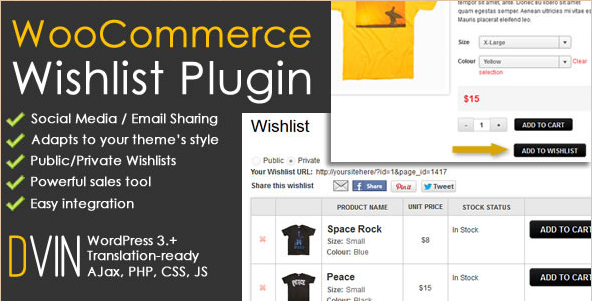 DVin - WooCommerce Wishlist WordPress Plug-in