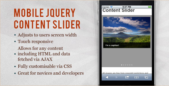 Mobile jQuery Content Slider