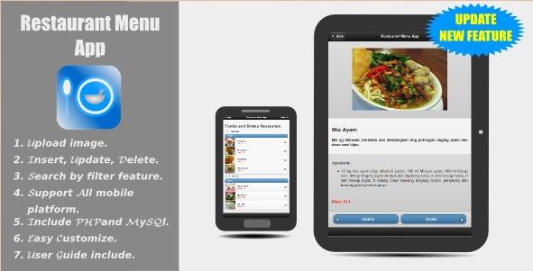 Restaurant Menu App - jQuery Mobile