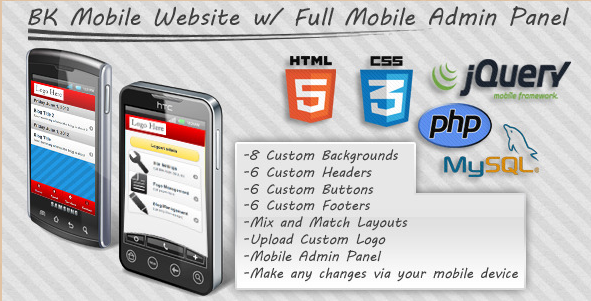 jQuery Mobile Website Admin Panel