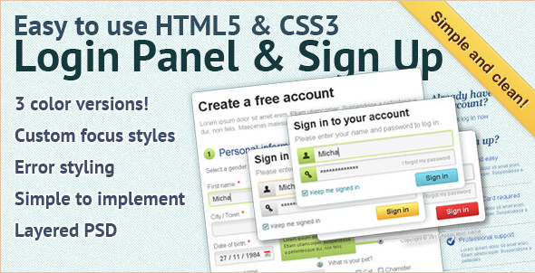 CSS Login Panel Menu