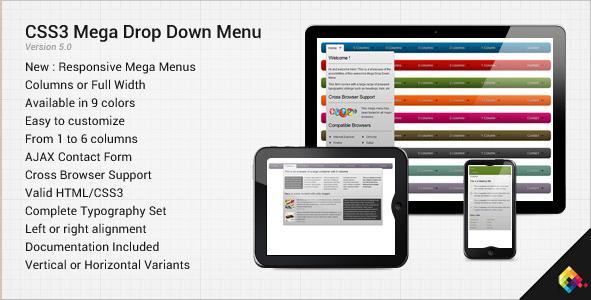 CSS3 Mega Drop Down Menu - CSS Plugin