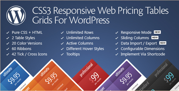 CSS3 - Pricing Table WordPress Plugin