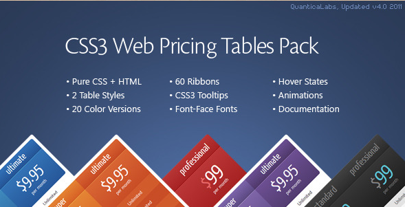 CSS3 Web Pricing Tables Plugin