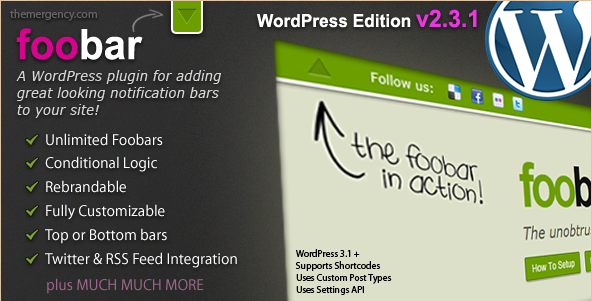 Foobar - WordPress notification bar plugin