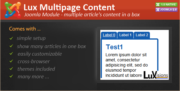 Joomla Plugin - Lux Multipage Content