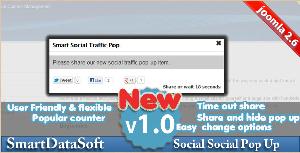 Joomla Smart Social Popup Plugin