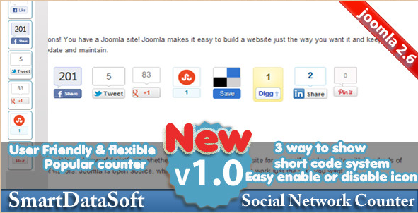 Joomla SmartSocial Counter Extension