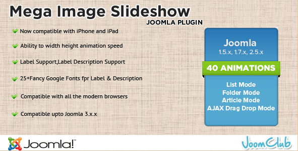 Mega Image Slideshow - Joomla Plugin Extension
