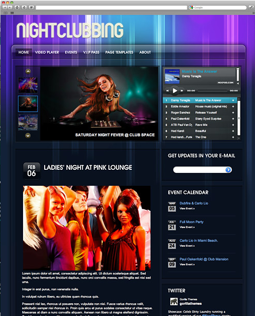 Nightclubbing - WordPress Music Template