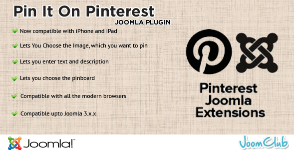Pin It - Joomla Extension Module for Pinterest