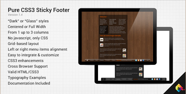 Pure CSS3 Sticky Footer Plugin
