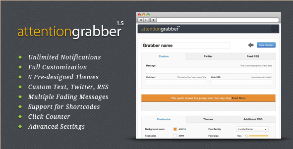 attentionGrabber - WordPress Notification Bar Plugin