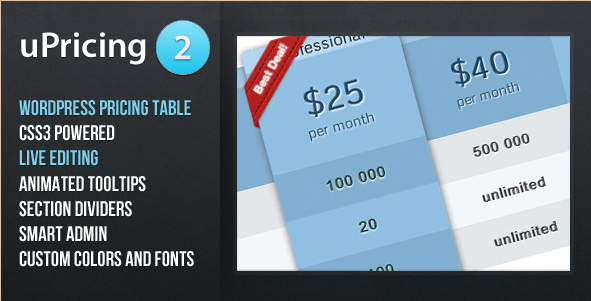 uPricing - WordPress Pricing Table Plugin