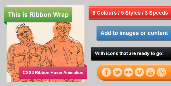 Ribbon Wrap - CSS3 Hover Animation