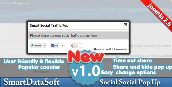 Joomla Smart Social Pop Up Plugin
