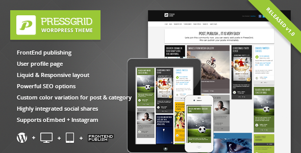 PressGrid Front End Publishing Multimedia Theme