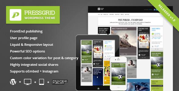 PressGrid Front End Publishing Multimedia Theme